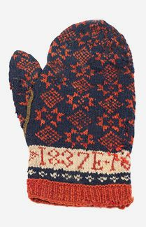 Dated and named hand-knitted adult mittens, c.1837. Hand knitted in red and navy wool with a pattern of alternating snowflakes and diamonds. The cuffs have ivory bands. The thumbs are attached with a border of olive green wool. The name of the original owner and the date of construction were incorporated into the design. These mittens from the Philadelphia area are also a rare example of everyday clothing from the perio