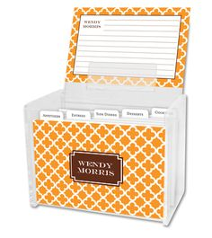 Tangerine Bristol Tile Recipe Box and Recipe Cards