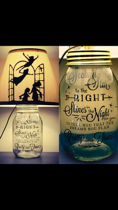 Peter Pan Mason Jar Light - maybe put pixie dust in the jar?