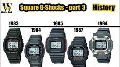 G-Shock history - 1984 - 1995 - squares Casio G Shock, Casio Watch, Vintage Watches, Squares, Survival Tips, History, Hacks, Youtube, Poster
