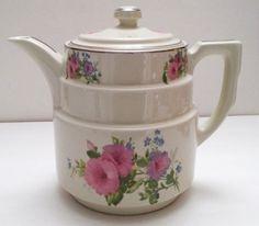 Vintage Hall's Superior Quality Kitchenware Large Floral Tea Coffee Pot Teapot  #Hall
