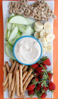 Peanut Butter Dip is a super tasty snack or even school lunch treat (that you can also make with allergen-friendly SunButter) | Weelicious