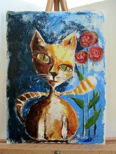 ArtOriginal Acrylic Cat Art Painting Abstract Cat by OneRachaelArt, $75.00