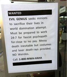 Wanted - Evil Genius Minions - Funny Picture Sign