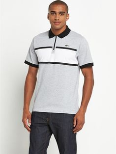 Lacoste Mens Chest Panel Detail Polo - Mens T-Shirt - COLOUR-grey