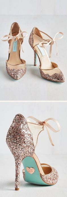 hochzeitsschuhe rosegold hochzeitsschuhe rainbow Blue by Betsey Johnson - Stela High Heels Dazzle throughout the night with the Stela heel! Mesh upper with glitter overlay. Ankle strap with lace closure. Man-made lining and footbed. Wedge Wedding Shoes, Bridal Shoes, Wedge Shoes, Women's Shoes, Shoe Boots, Wedding Heels, Rose Gold Wedding Shoes, Glitter Wedding, Wedge Sandal