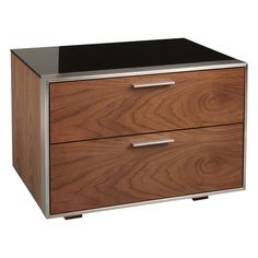 modern / retro / serious Steel frame and walnut bedside table Bedside table, bedside cabinet, nightstand with drawers