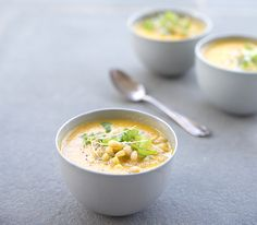 ROASTED TOMATO + ZUCCHINI SOUP WITH A CORN + PINE NUT CRUNCH