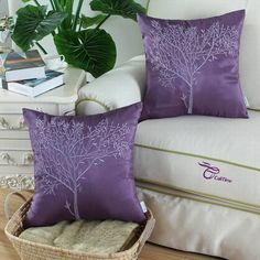 """2Pcs CaliTime Cushion Covers Pillows Shell Purple with Lilac Embroidered 18""""X18"""" #CaliTime"""