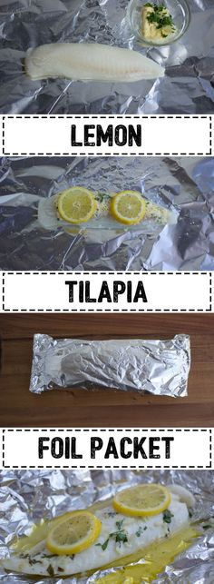 Clean Eating Diet Quick and easy way to cook tilapia without a dish to clean! - Foil packets are a clever kitchen hack to a quick and easy meal without the mess. No need to pull out the automatic toothbrush to dislodge that. Seafood Recipes, Cooking Recipes, Healthy Recipes, Tilapia Recipes Healthy Baked, Talapia Recipes Easy, Fish Recipes Healthy Tilapia, Healthy Food, Seafood Bake, Cooking Corn