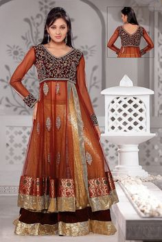 Lehenga - Anarkali--I LOVE the colours on this one and how sheer it is.