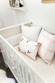 Modern Dot Pillow - Grey on White | blush nursery, nursery idea, floral, plaid, soft pink nursery, baby room idea, baby room, inspo, baby crib, pillows, home decor, interior design, pink, baby girl, newborn