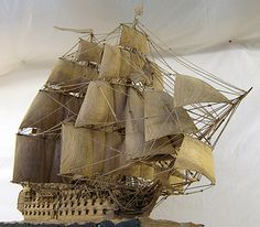HMS Victory scale model carved entirely from original oak from Lord Nelson's Flagship HMS Victory