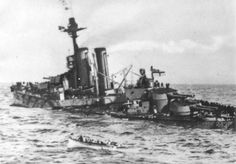 The first ship was French battleship HMS Bouvet pulled out of line to let those behind her take up the barrage and headed right into one of Nusret's mines. It exploded and she almost immediately capsized, sinking within two minutes and taking 640 of the crew with her. De Robeck suspected a torpedo or perhaps a lucky hit from a Turkish canon.