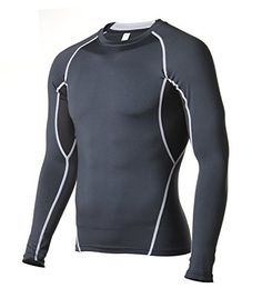 Compression Shirt Long Sleeve for Running Fitness Workout Base Layer Black XL ** Click affiliate link Amazon.com on image to review more details.