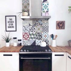 Cement Tile Shop has beautiful in stock Patchwork pattern handmade encaustic cement tile ready to ship. Please contact us at Country Kitchen Tiles, Funky Kitchen, Kitchen Backsplash, Kitchen Ideas, Patchwork Kitchen, Patchwork Tiles, Kitchen Storage Boxes, House Paint Interior, Small Tiles