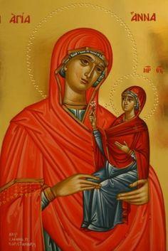 Anna by Eleni Kapetanaki Saint A, Byzantine Icons, Orthodox Icons, Disney Characters, Fictional Characters, Anna, Female, Disney Princess, Parrots