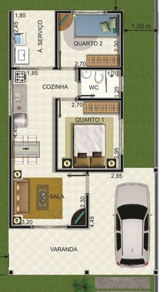 In general, modern house is designed to be energy and environmental friendly. The design often uses sustainable and recycled 2 Bedroom House Plans, Modern House Plans, Small House Plans, House Floor Plans, Home Design Plans, Plan Design, Modern Garage, Small Garage, Sims House