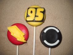 1 chocolate disney cars mcqueen tire bolt 95 oreo lollipop lollipops | sapphirechocolates - Edibles on ArtFire