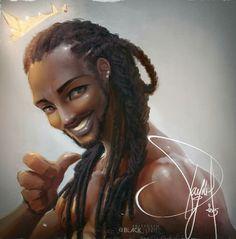 Art by Black Fenrir ❤ ℒℴvℯly Black Girl Art, Black Women Art, Art Girl, Black Men, African American Artwork, African Art, Natural Hair Art, Natural Hair Styles, Black Artwork
