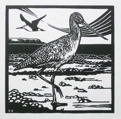 Items similar to A limited edition linocut print titled 'Godwit' showing the shorebird on the coast searching for food on Etsy Shorebirds, Linocut Prints, Wood Blocks, Printmaking, Lino Cuts, Silhouette, Block Prints, Armoire, Nature
