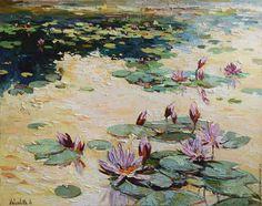 Купить Кувшинки 3 . - бежевый, кувшинки, водяная лилия, водяные лилии на закате…