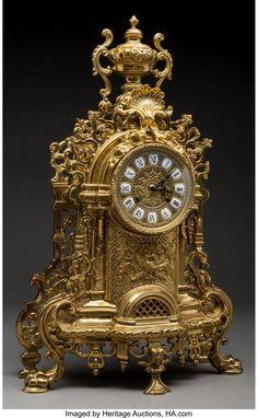 A Lancini Italian Gilt Bronze Mantel Clock - Jan 2018 Antique Mantle Clock, Antique Desk, Antique Clocks, Vintage Clocks, Classic Clocks, Unusual Clocks, French Rococo, Wall Clock Online, Tabletop Clocks