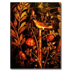 NIGHTINGALE WITH ROSES , Red Black Yellow Postcard