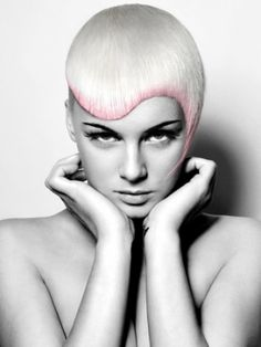 Beautiful precision haircut with light pastel undertone
