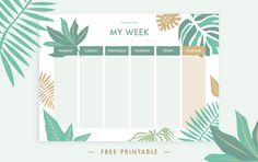 Tropical printable schedule - DIYs.com