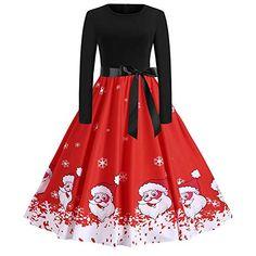 698694320dbb7 Dress Women s Autumn Vintage Print Long Sleeve Christmas Evening Party Swing  Skirt