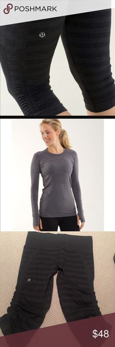 BUNDLE w/ Lululemon FLOW CROPS & SWIFTLY TEE SZ 8 BUNDLE INCLUDING FLOW CROP STRIPE BLK & GREY & SWIFTLY LONG SLEEVE CHARCOAL SIZE 8 TEE.  DESIGNED FOR Run, yoga, train SILVERESCENT® TECHNOLOGY Powered by X-STATIC®, it inhibits the growth of odour-causing bacteria on the tank MESH VENTING Encourages airflow to keep you cool TIGHT FIT Lets you move without restriction HIP LENGTH Layers easily SEAMLESS CONSTRUCTION Reduces bulk to help prevent chafing lululemon athletica Other