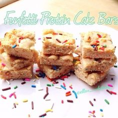 Ripped Recipes - Funfetti Protein Cake Bars - Funfetti has be been my favorite kind of cake since I was a little girl…probably because of the sprinkles…and once I start eating it, I can't stop.  Which is why I'm so excited about this creation, because it makes a healthier version, in a single serving size, so there is no chance I'll overeat with this cake.  HIGHLY recommend picking up some of this protein- you can use the code 'ELLEN' at Cellucor.com to take 20% off and free ...