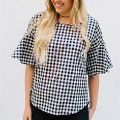 Gingham Top with Flutter Sleeves
