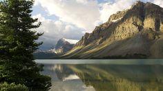 1920x1080 Wallpaper mountains, coast, tree, lake, canada, reflection, mirror