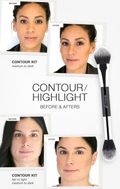 Contour & Highlight: Before and After. Tips for defining, highlighting and accentuating your features with contouring and highlighting.