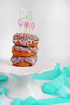 Who wouldn't want to start their day off with this deliciousness? A colorful sprinkled donut stack decorated with a fun DIY clay topper is the perfect way to celebrate a special birthday. Make this easy and unique birthday cake idea yourself for the birthday boy or girl in your life!