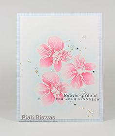 Love that softness of the water coloring. Piali's wonderfully designed card was made with Wild Hibiscus stamp set along with the Zig Clean Color Markers.