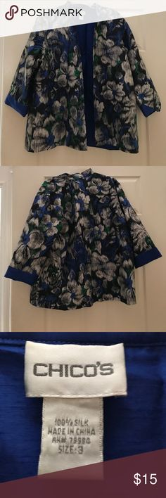 Blue green silk light jacket Blue green floral patterned silk jacket from Chicos. Light and easy to wear for fall. Love it but it no longer fits - looking for a good home Chico's Jackets & Coats Blazers