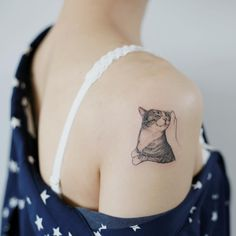 small cat tattoo on the shoulder