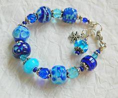 Atlantic  blue lampwork bracelet azure ink by MarianneMerceria