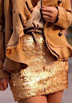 gold sequin mini skirt, leopard print skinny belt, camel ruffle jacket