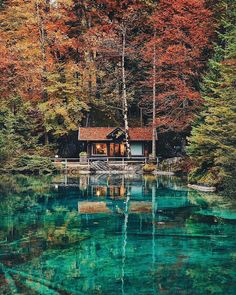 Tranquility abounds at this quaint Swiss cabin. Wouldn't mind hiding out here for a week or two...maybe even forever! #regram via @lily__rose. #Switzerland #trees #art #photography #reflection by adobe