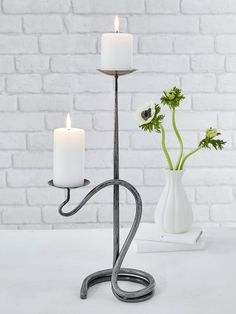 Artisan Double Candle Holder - Nordic House - Hand-forged by an artisan blacksmith, this beautiful wrought iron double candle holder is a true heirloom piece, the perfect wedding gift. Floor Candle Holders, Wrought Iron Candle Holders, Rustic Candle Holders, Candle Holder Decor, Candle Stand, Planer Layout, Sculpture Metal, Wrought Iron Decor, Blacksmithing
