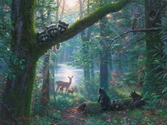NEW RELEASE by Mark Keathley Moonlit Encounters When I was a boy, we lived in the country. On some moonlit nights, I'd go outside and listen to the. Wildlife Paintings, Nature Paintings, Deer Paintings, Wildlife Decor, Wildlife Art, Spring Drawing, Deer Photos, Summer Painting, Forest Wallpaper