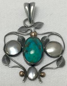 Keswick school ksia silver pendant with hardstone and MOP