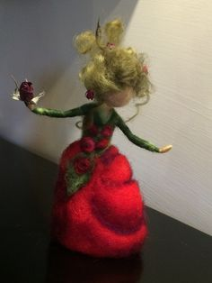 """Needle felted Fairy Waldorf inspired Magic Flower Fairy """"Red Rose"""" Art Doll ........................................................................ by DreamsLab3   Etsy"""