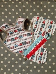 Trains Bib Paci Clip and Burp Cloth Set by Polkadotologie on Etsy, $20.00