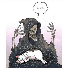 Tagged with cat, aww, caturday; Cat dump from stolen memes on Caturday Arte Obscura, Skeleton Art, Grim Reaper, Skull Art, Crazy Cats, Art Inspo, Creepy, Cool Art, Art Drawings