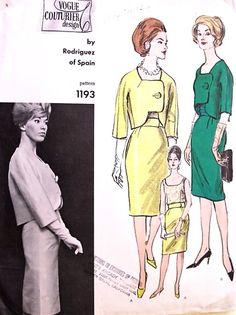 1960s RODRIGUEZ Cocktail Suit and Blouse Pattern VOGUE COUTURIER Design 1193 Stunning Jacket Design Glam Slim Skirt  Tuck In Blouse Attached Cummerbund Belt Bust 36 Vintage Sewing Pattern FACTORY FOLDED